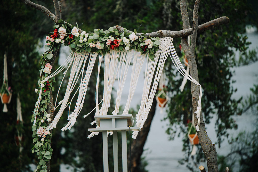 Macrame and Floral Wedding Backdrop - Winnipeg Wedding Flowers
