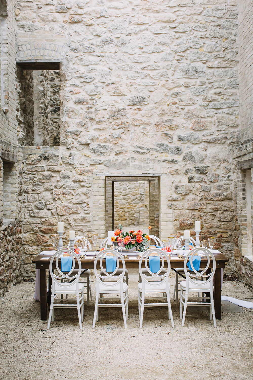 Mediterranean Wedding Inspiration - Coral and Blue Wedding Reception