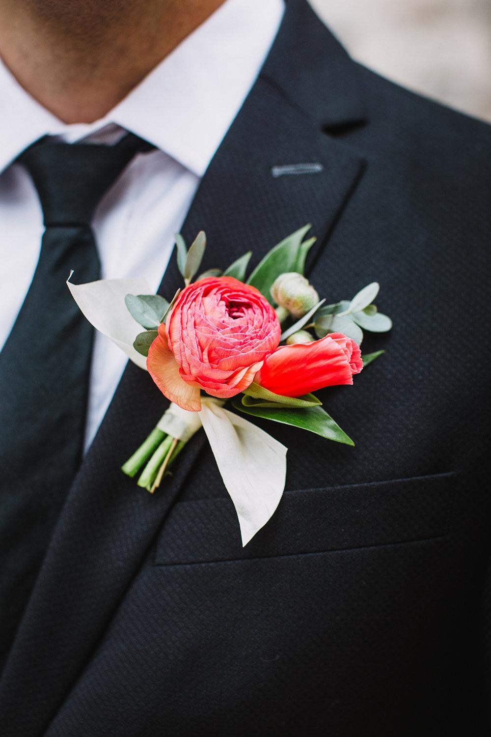 Coral Ranunculus Boutonniere - Spring Wedding Flowers