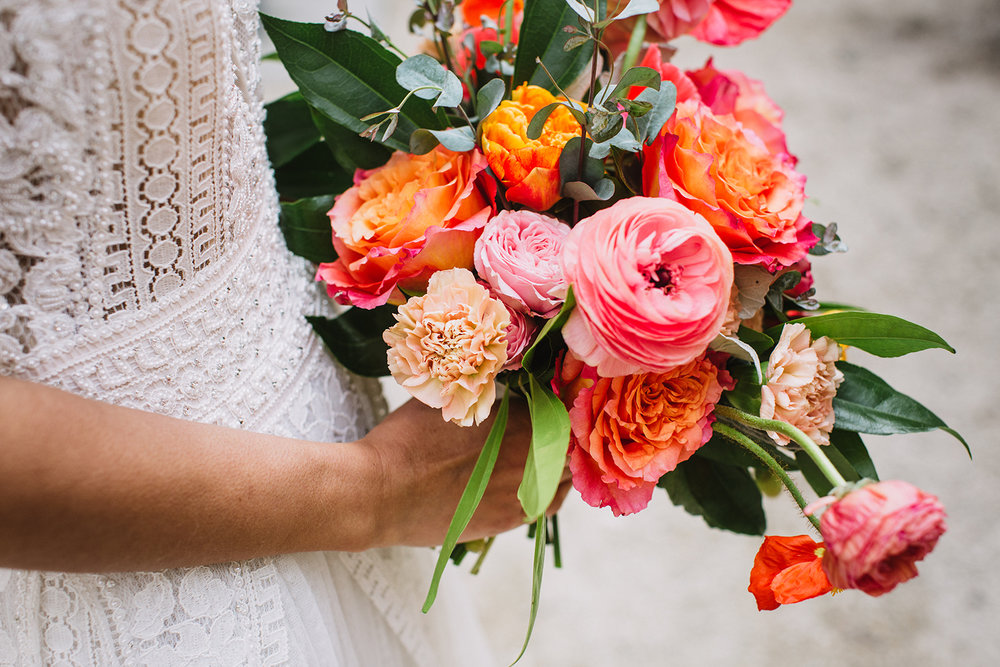 Peach and Orange Wedding Bouquet - Stone House Creative