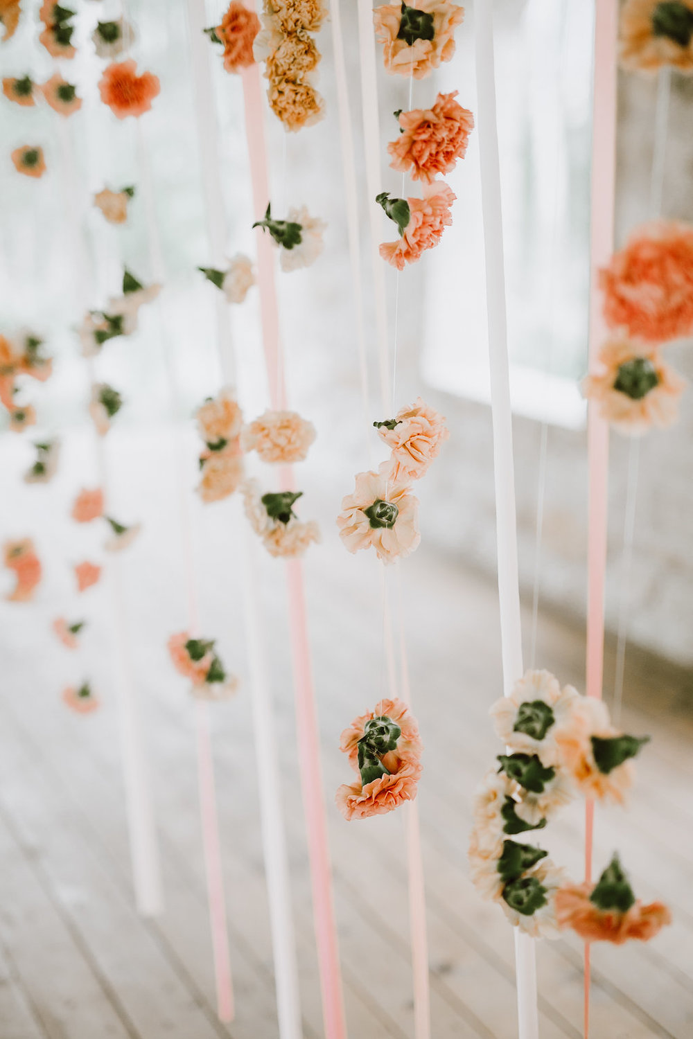 Hanging Flowers Wedding Ceremony Backdrop - Stone House Creative