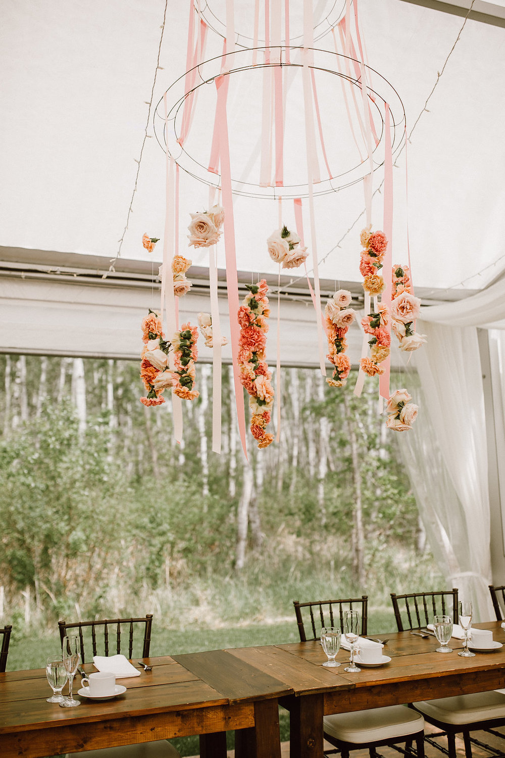 Hanging Floral Chandelier - Winnipeg Wedding Flowers