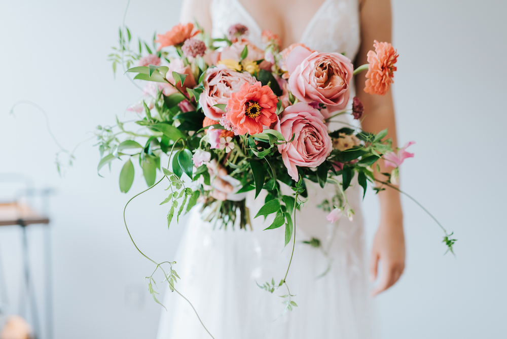 Garden Rose and Zinnia Bouquet - Wedding Florists in Winnipeg