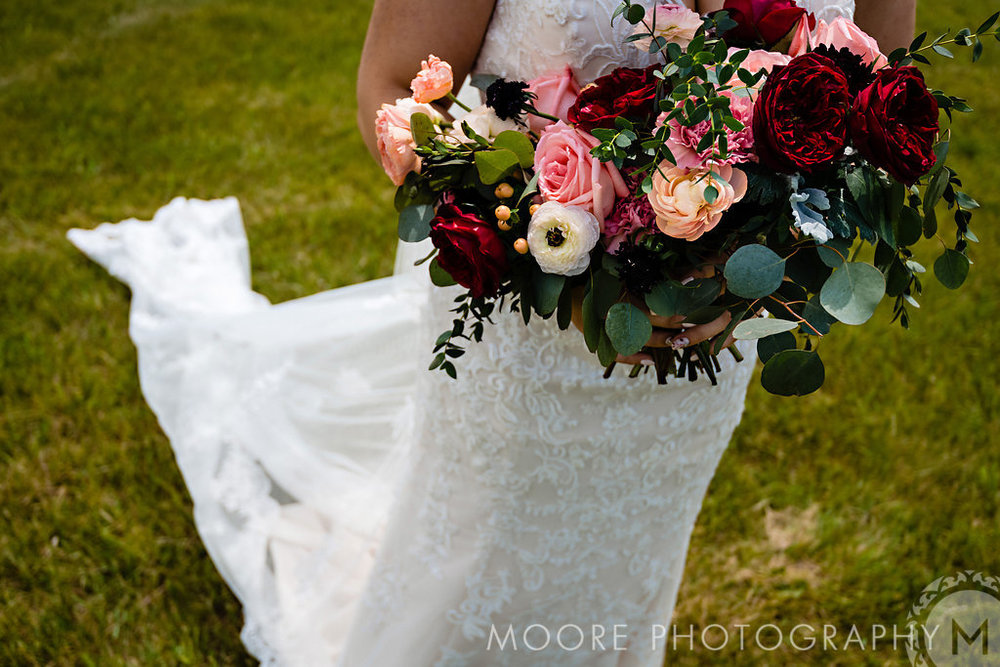 Burgundy and Peach Bridal Bouquet - Stone House Creative
