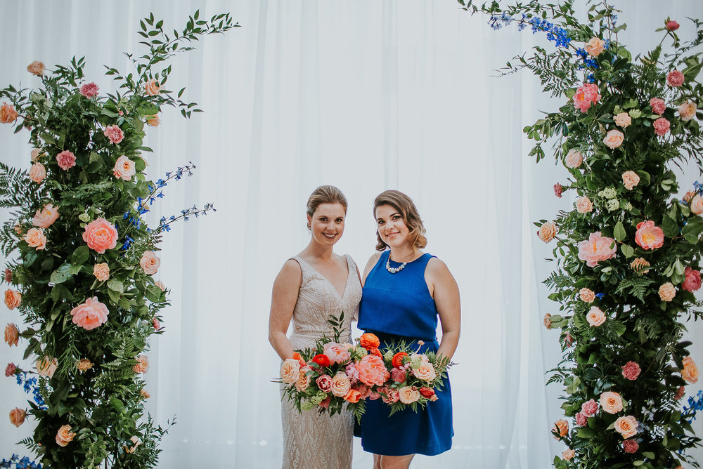 Coral and Blue Wedding Flowers - Winnipeg Wedding Florists
