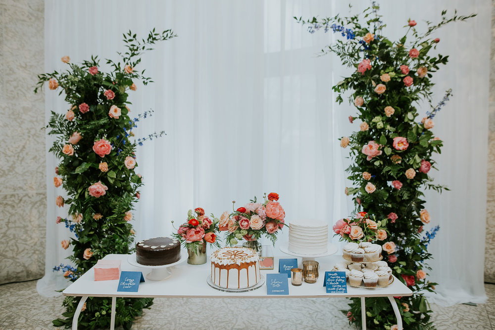 Floral Wedding Cake Display - Wedding Florist in Winnipeg