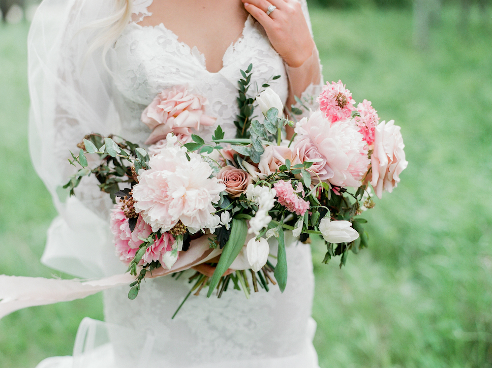 Pink Peony Bridal Bouquet - Winnipeg Wedding Flowers by Stone House Creative