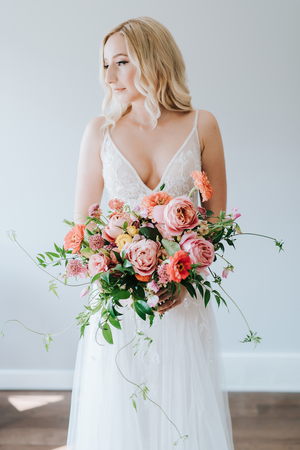 Coral and Peach Summer Bridal Bouquet - Winnipeg Wedding Florist Stone House Creative