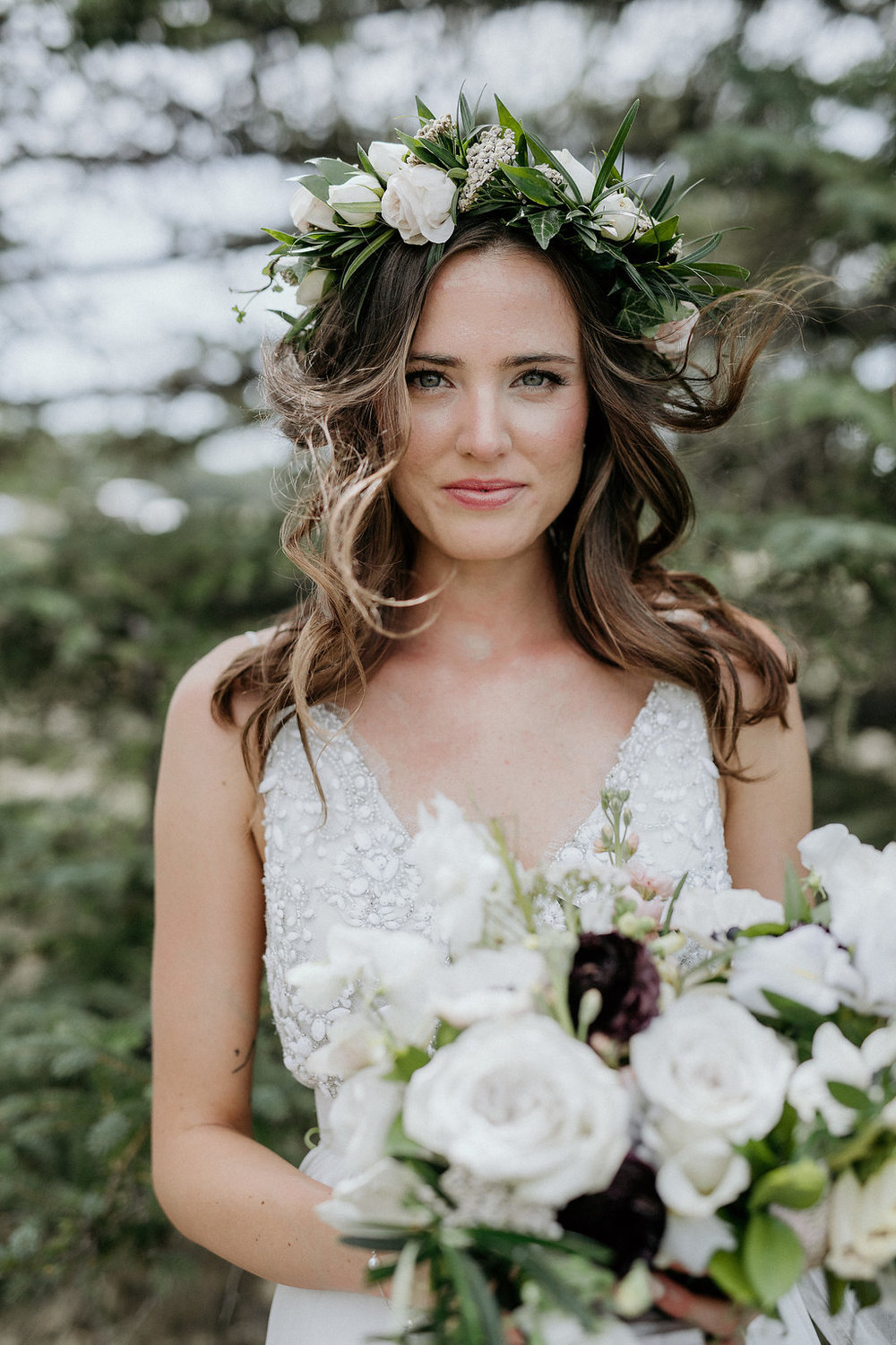 Blush and Cream Flower Crown - Wedding Florists in Winnipeg