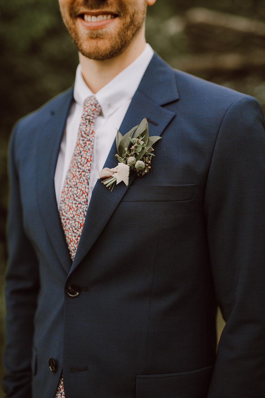 Textured Greenery Boutonniere - Organic Inspired Wedding inWinnipeg