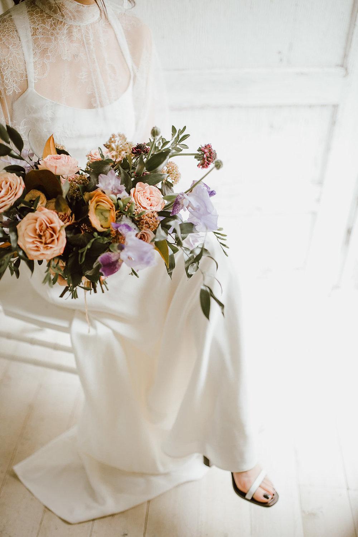 Peach and Lavender Bridal Bouquet - Winnipeg Wedding Florists