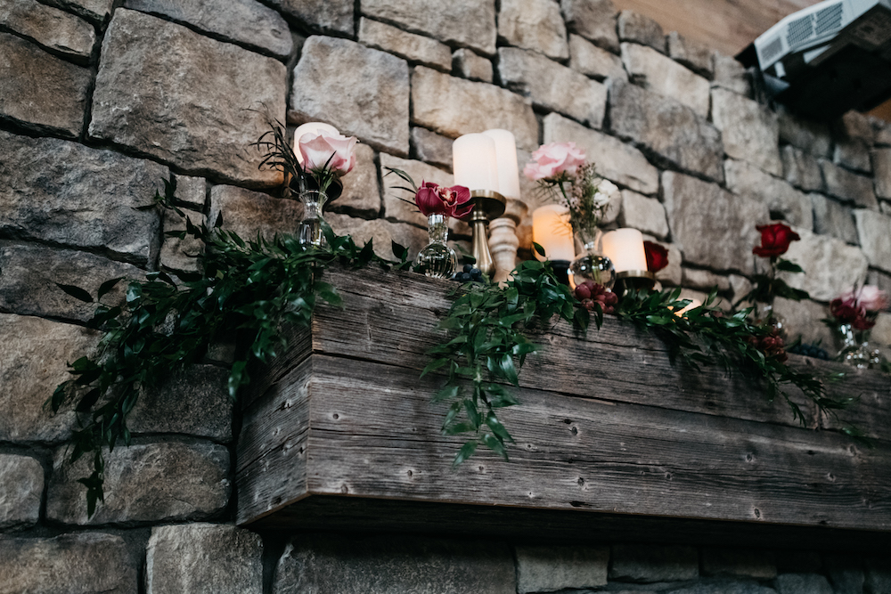 Fireplace Mantle Flowers - Wedding Ideas with Fireplaces