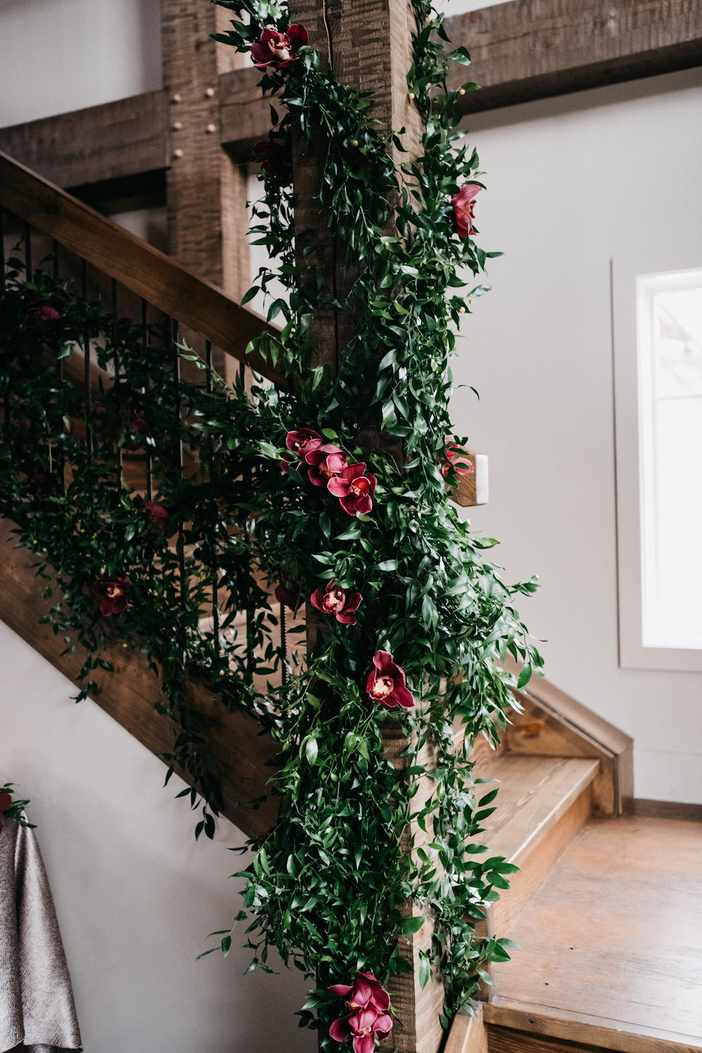 Greenery and Floral Staircase at Wedding - Hawthorn EStates Wedding