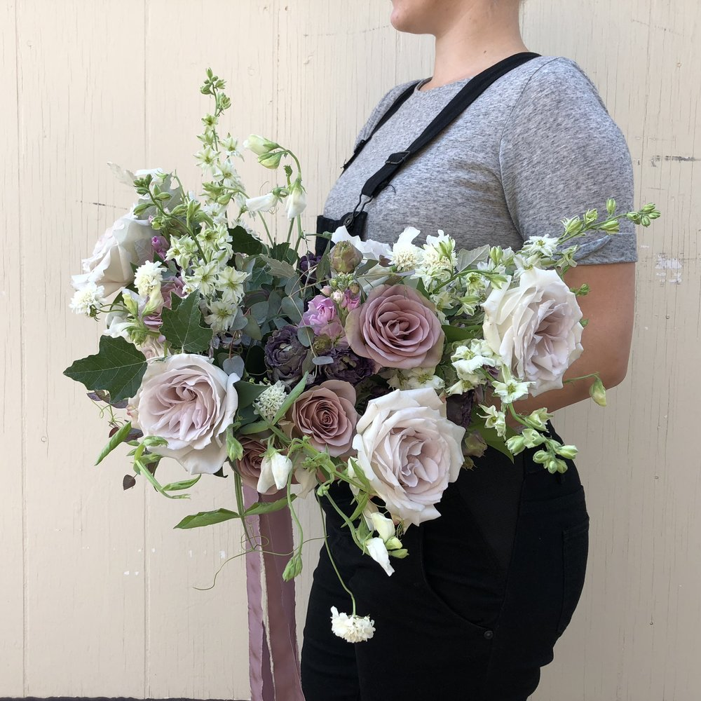 Organic Bridal Bouquet in Mauve - Wedding Flowers in Winnipeg