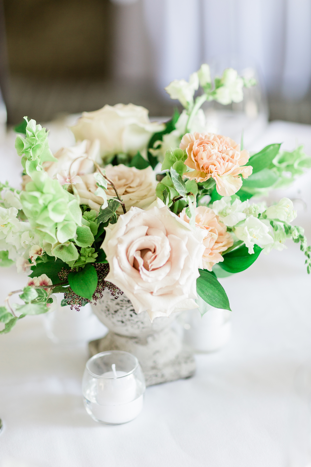 Blush and Sage Wedding Centrepiece - Winnipeg Wedding Flowers