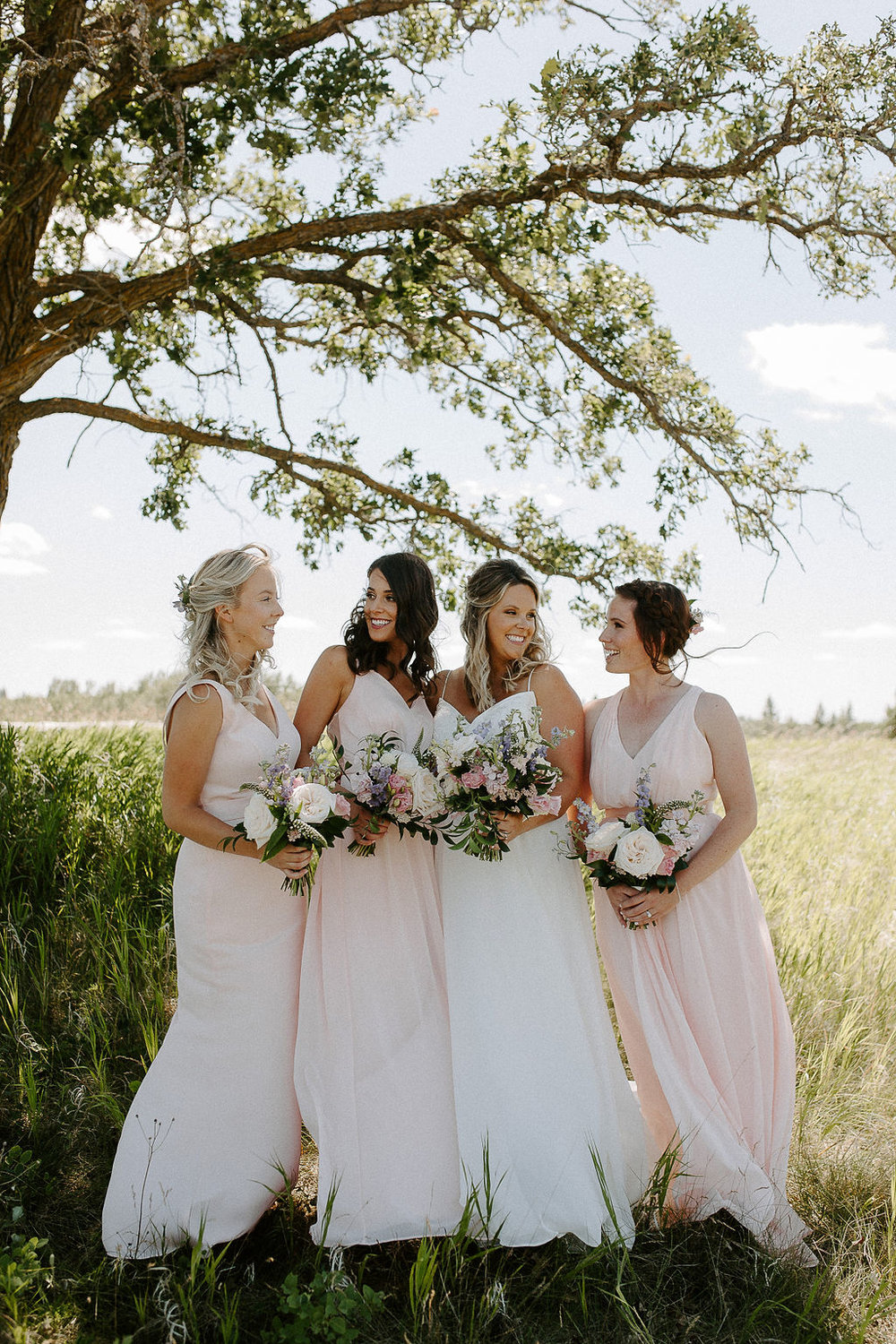 Blush Bridesmaid Dresses - Garden Inspired Wedding Flowers in Winnipeg