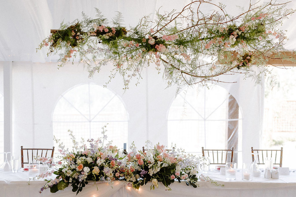 Hanging Floral Installation over Head Table - Wedding Flowers winnipeg