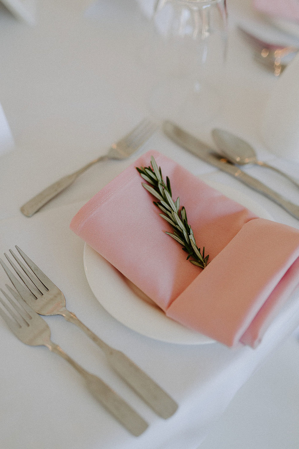 Herb Sprig at Place Setting - Garden Inspired Weddings in Winnipeg