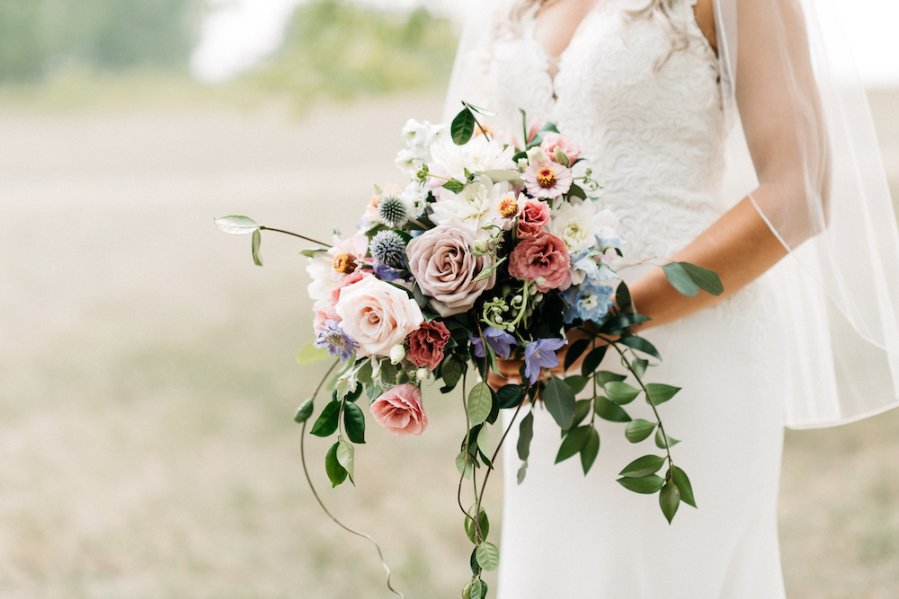 Garden Inspired Cascade Bridal Bouquet - STone House Creative