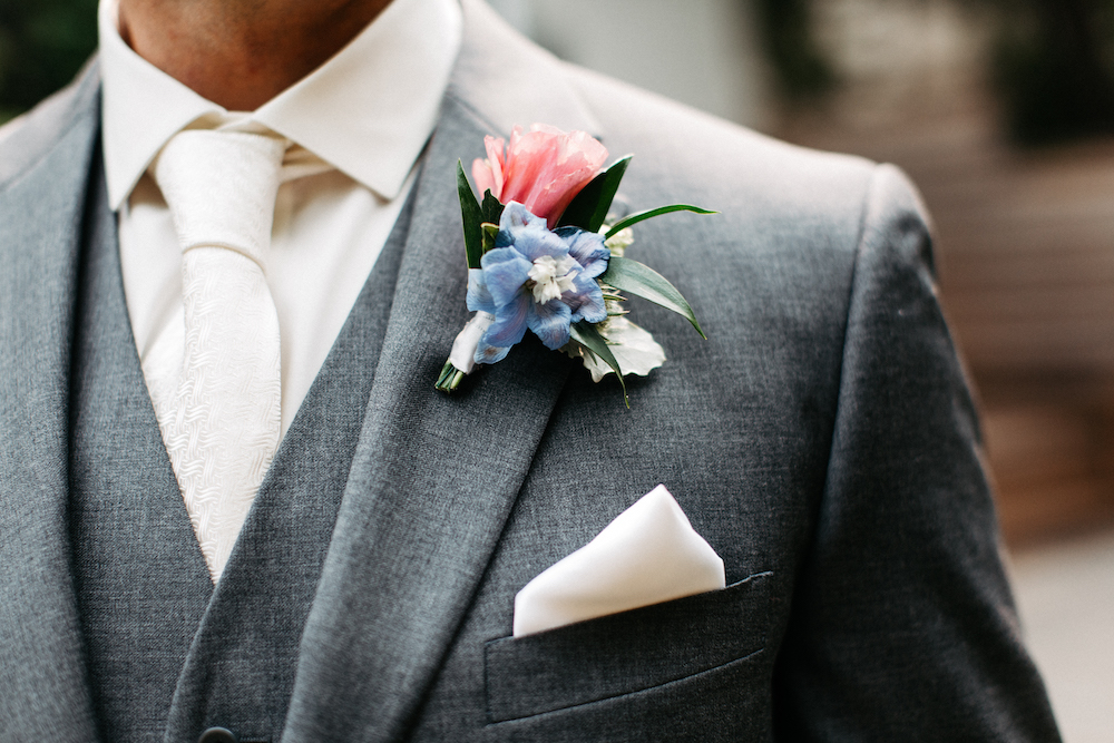 Lisianthus and Delphinium Boutonniere - Wedding Flowers Winnipeg
