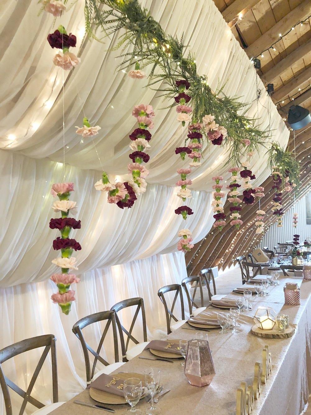 Hanging Flower Strands - Winnipeg Wedding Florists