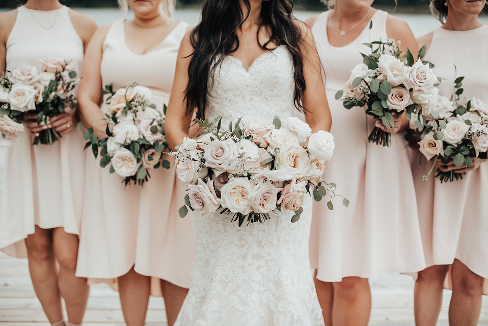 Garden Inspired Rose Bridal Bouquet - Blush and Cream Wedding Flowers