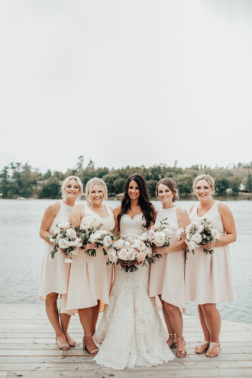 Blush Bridesmaid Dresses - Elegant Wedding at the Lake