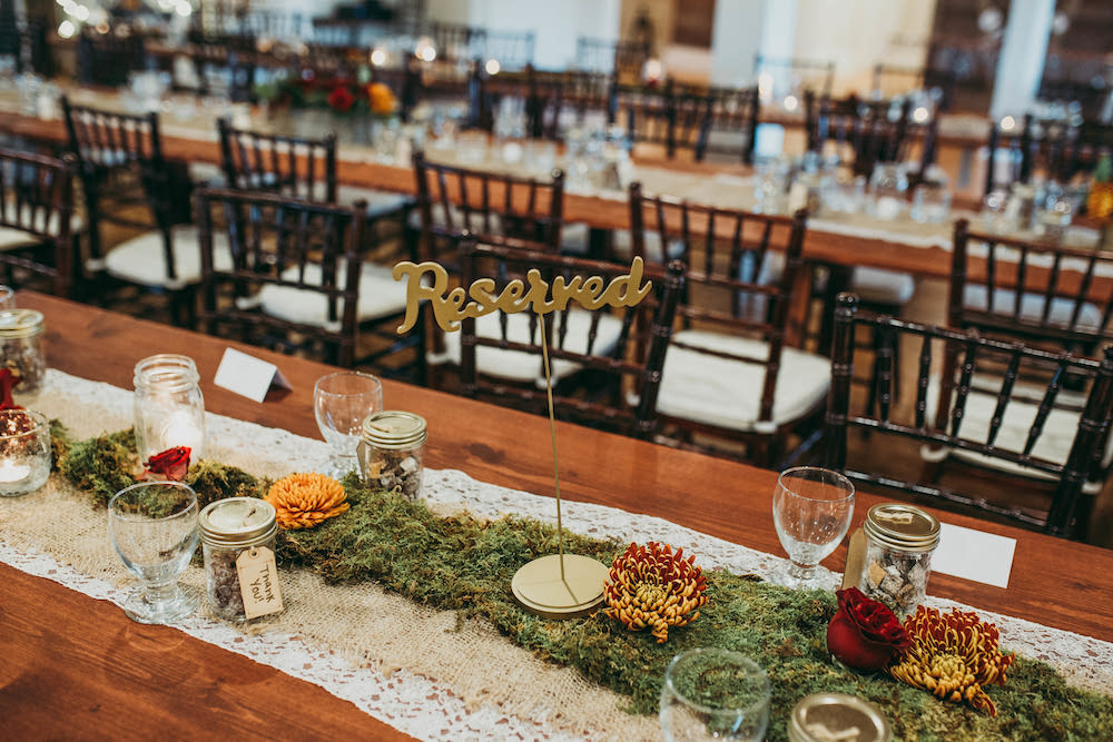 Moss Table Runner Centrepieces - Rustic Wedding Decor Ideas