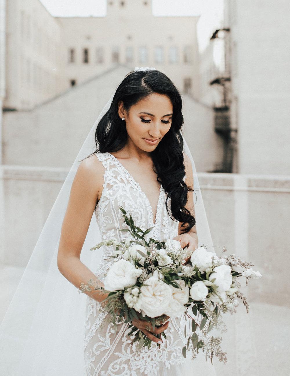 Garden Inspired Wedding Bouquet - White Wedding Flower Ideas