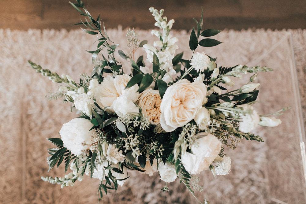 White garden Rose Wedding Bouquet - Wedding Flowers Winnipeg