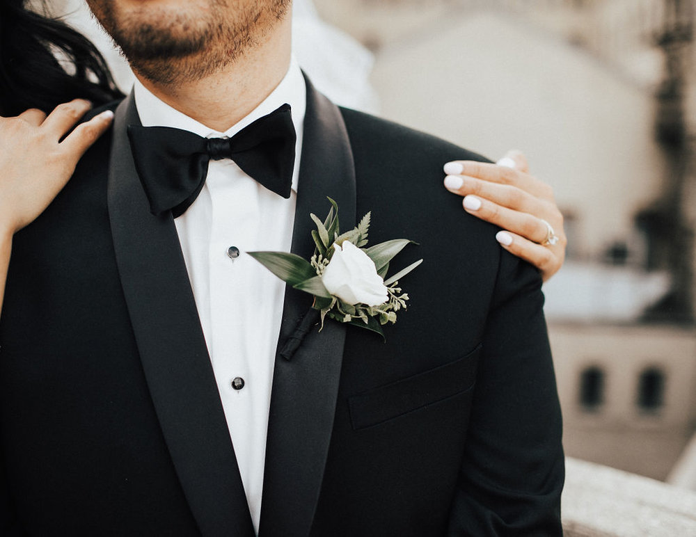 White Lisianthus Boutonniere - Winnipeg Wedding Florist