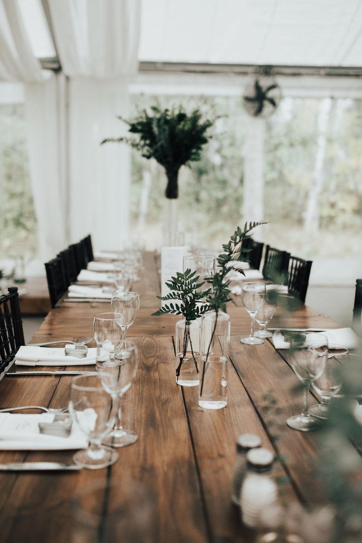 Modern and Organic Wedding Centrepieces - Greenery Wedding Decor