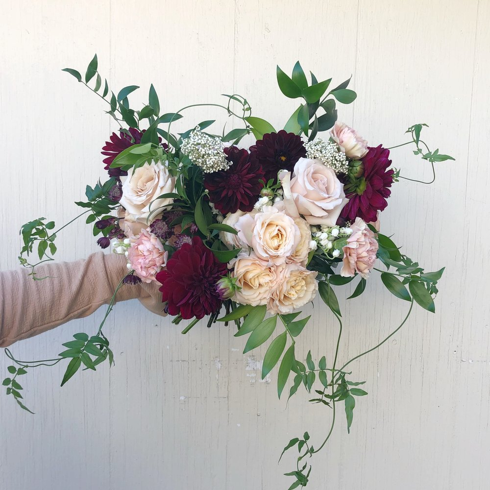 Burgundy and Blush Bridal Bouquet - STone House Creative