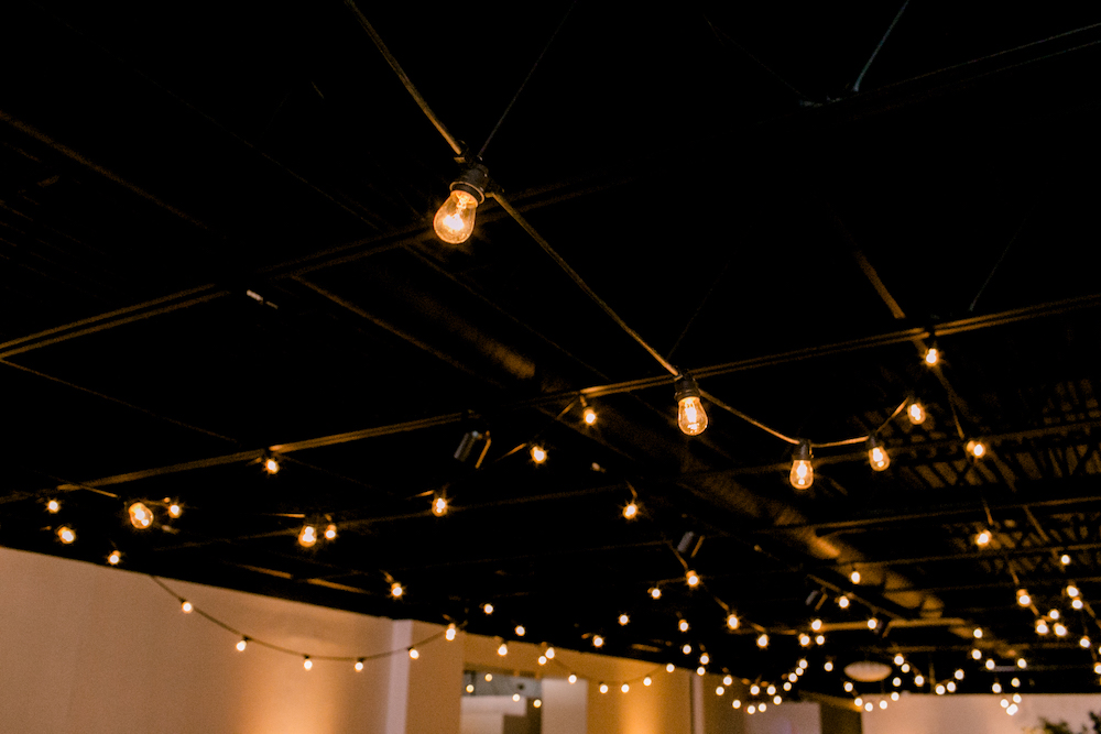 Hanging Cafe Light Wedding - Modern Wedding in Winnipeg
