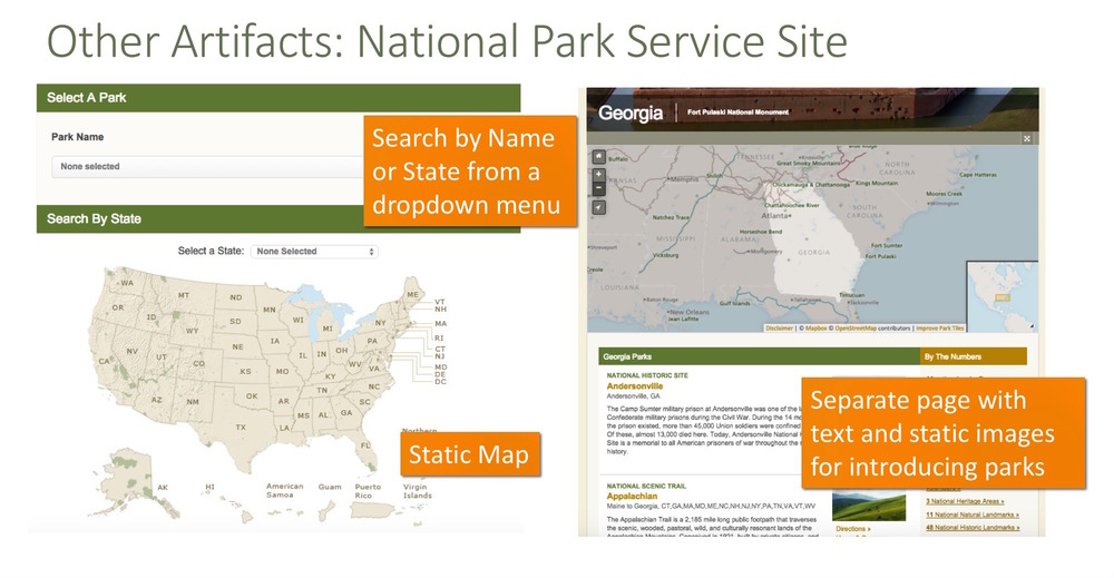 National Park Service      Show national parks in a static map and a drop-down menu