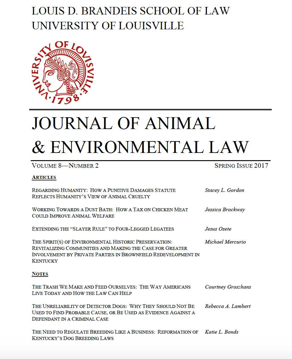 Vol. 8, No. 2 Now Available!  - We are happy to announce the publication of the Journal of Animal and Environmental Law Vol. 8, No. 2! You can view JAEL Vol. 8, No. 2 in its entirety here