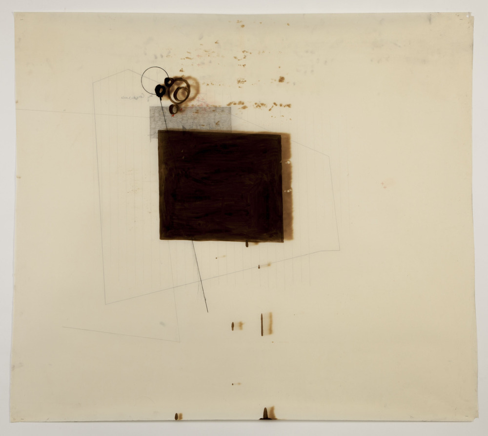 'Untitled' - December 2012 (Pitchmen, graphite, pencil & coloured pencil on oiled paper (motor oil) 100cm x 100cm