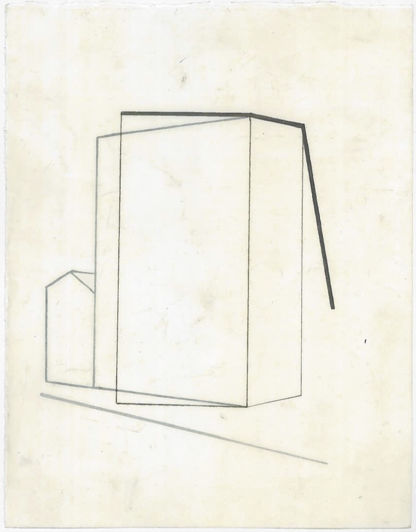 Architecture in transit (the city, observations 25B)  Pencil on oiled fabriano paper  140mm x 180mm  December 2013