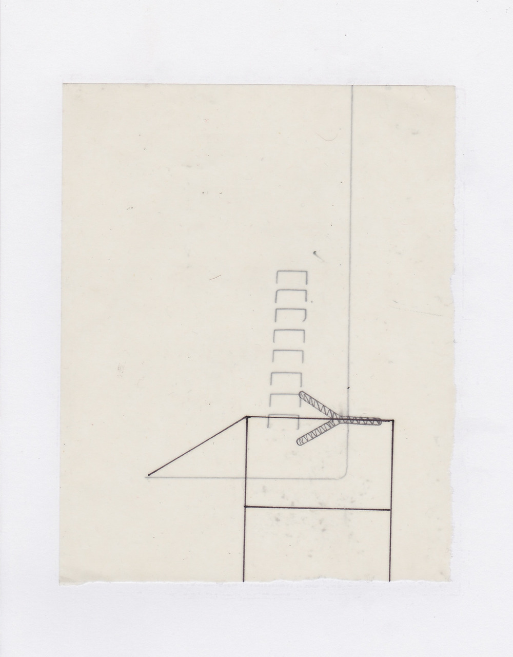 Untitled (the city, observations 16)  Pencil on layered(x2) oiled fabriano paper.  140mm x 180mm  December 2013