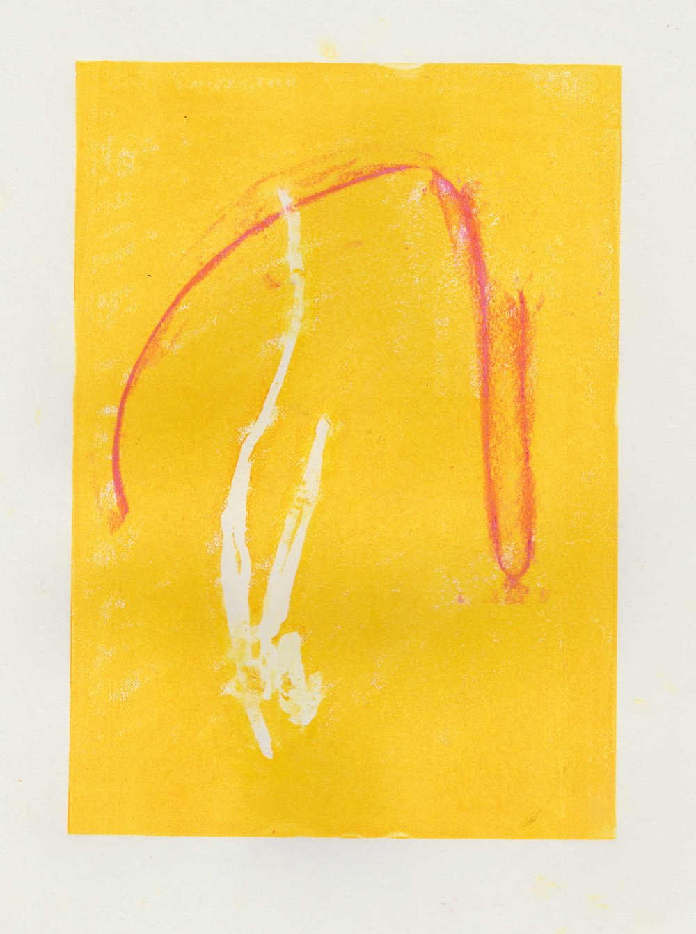 (Yellow Thursday) Lino print and soft pastel rubbing with masking fluid on paper // March 2018