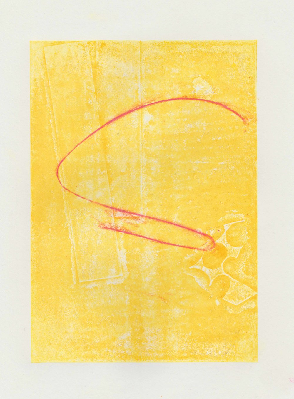 (Yellow Thursday) Lino print and oil pastel on paper // March 2018