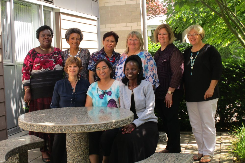 Back row:  Yvonne Pitter—VP of Caribbean Baptist Women (from Jamaica), Amelia Gavidi-VP of Southwest Pacific Baptist Women (from Fiji), Sara Mendoza de Barrios—VP of Latin American Women (from Venezuela), Ksenija Magda—President of BWA Women's Department (from Croatia), Kathy James—secretary-treasurer (from USA), Aniko Ujvari—VP of European Baptist women (from Hungary) Front row:  Moreen Sharp-VP of North Amercian women (from Canada), Precy Caronongan—VP of Asian Baptist Women (from Philippines), Joina Dhlula-VP of Baptist Women of Africa (Zimbabwe)
