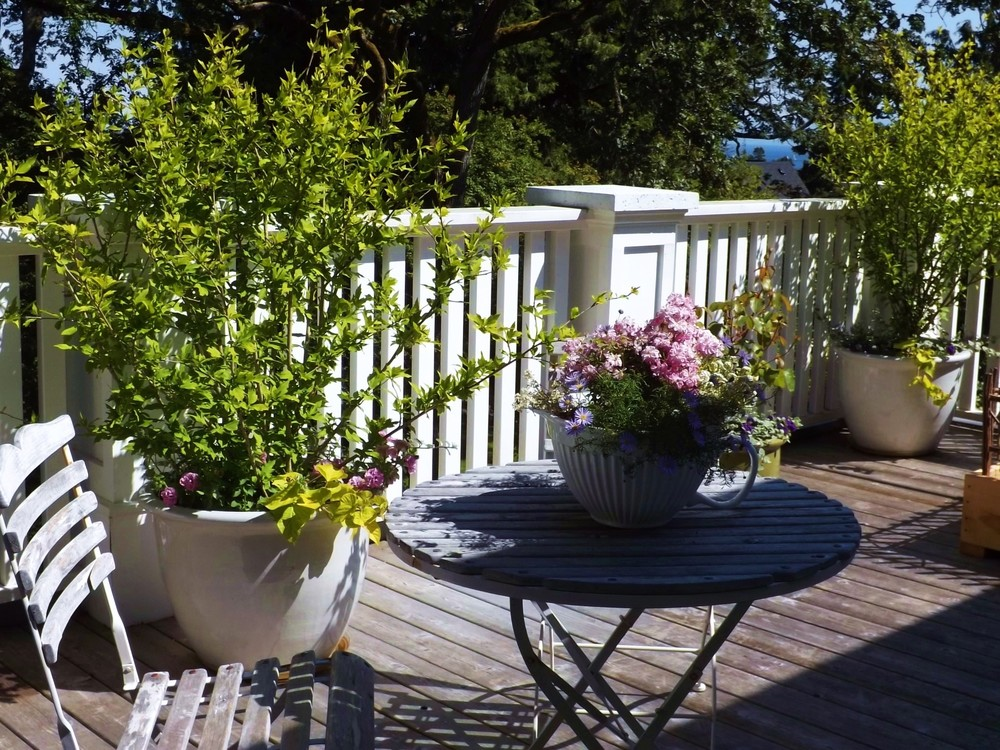 A comfy wooden deck, outfitted with bistro table and chairs and potted hibiscus and roses, makes an inviting spot for lounging and enjoying the outdoors.