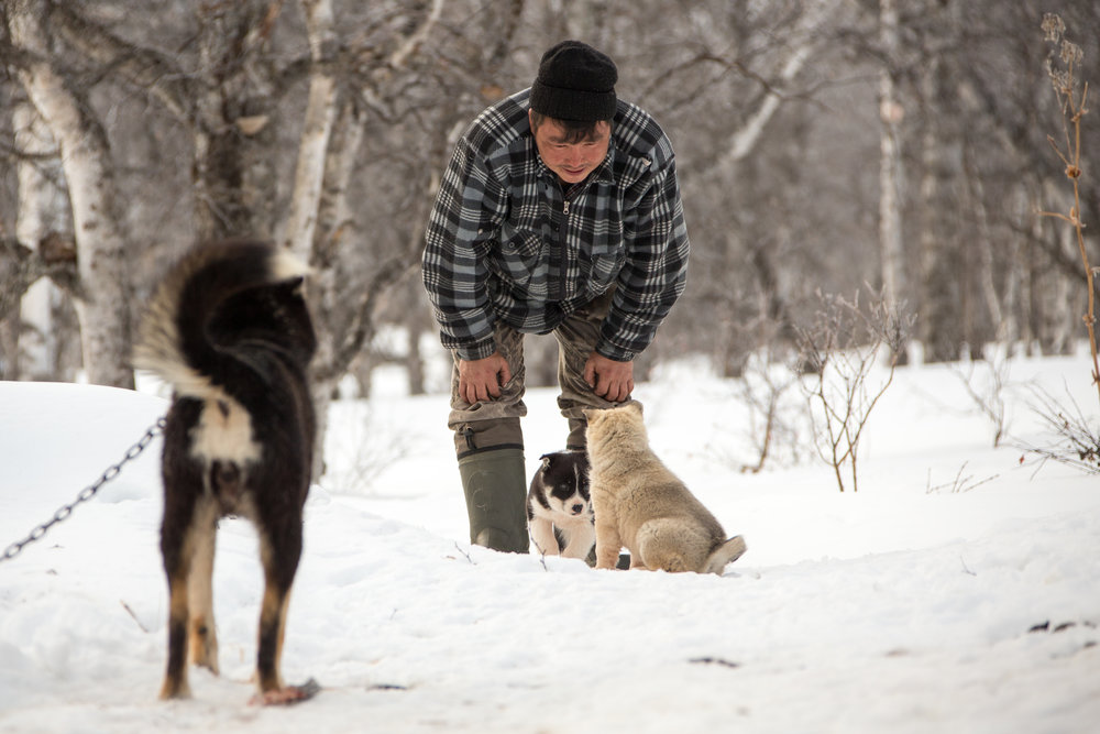 Ilya enjoys a tender moment with a couple of newborn puppies in the snow.