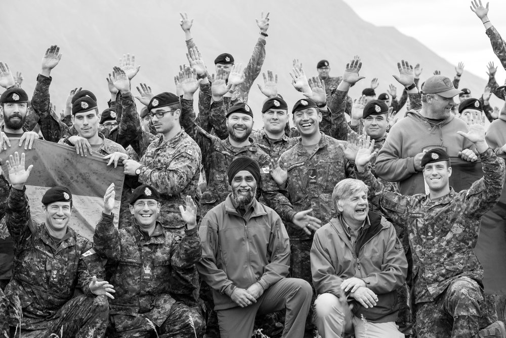 Minister Sajjan surprised everyone with an impromptu 21 push-ups challenge during an Operation NANOOK 2016 group photo at camp. This was moments before everyone was doing push-ups with the Minister.