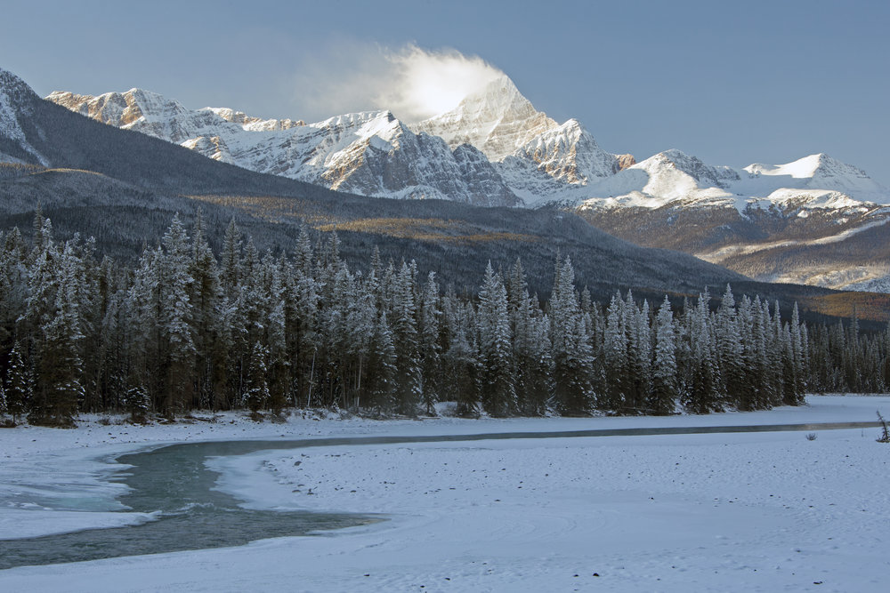 A mostly frozen river meanders through a valley surrounded by mountains and trees. Jasper National Park, Alberta.