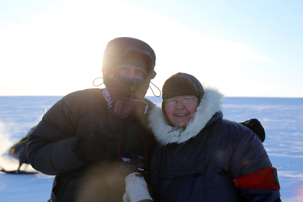 Me with Joanna Kammuka, a Canadian Ranger from Hall Beach, out on the land near Hall Beach, Nunavut. February 2017.