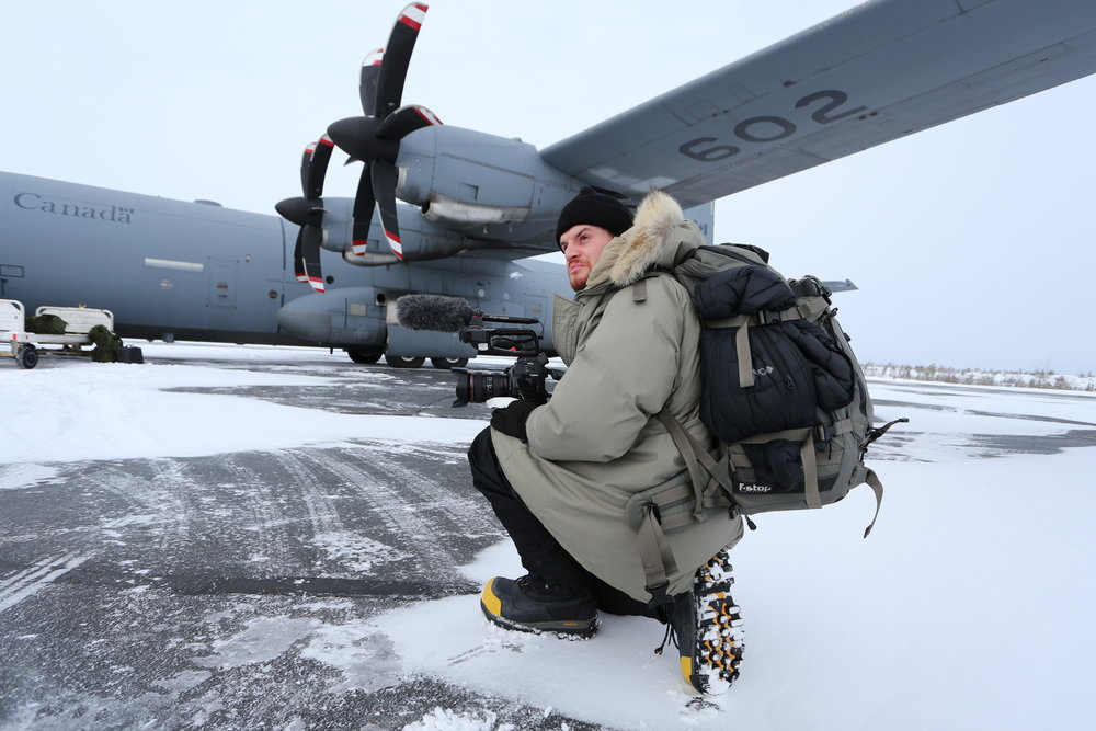 Nigel getting ready to board the Hercules in Yellowknife, NT.