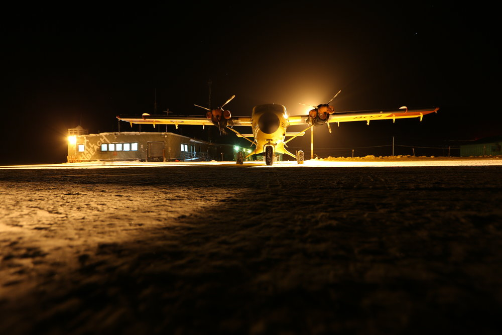 A RCAF Twin Otter parked at Hall Beach Airport.