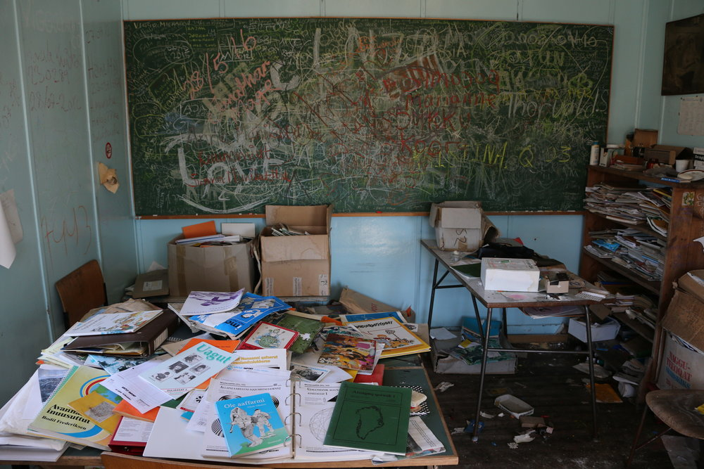 Abandoned classroom and school house in east Greenland.